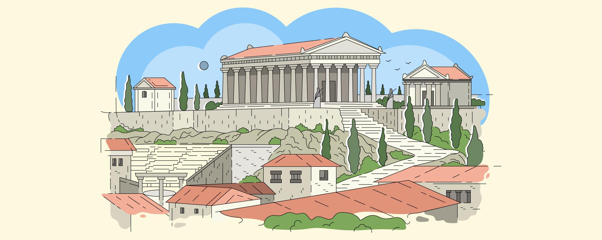 Ilustración a color que muestra edificaciones de la época de la Antigua Grecia.