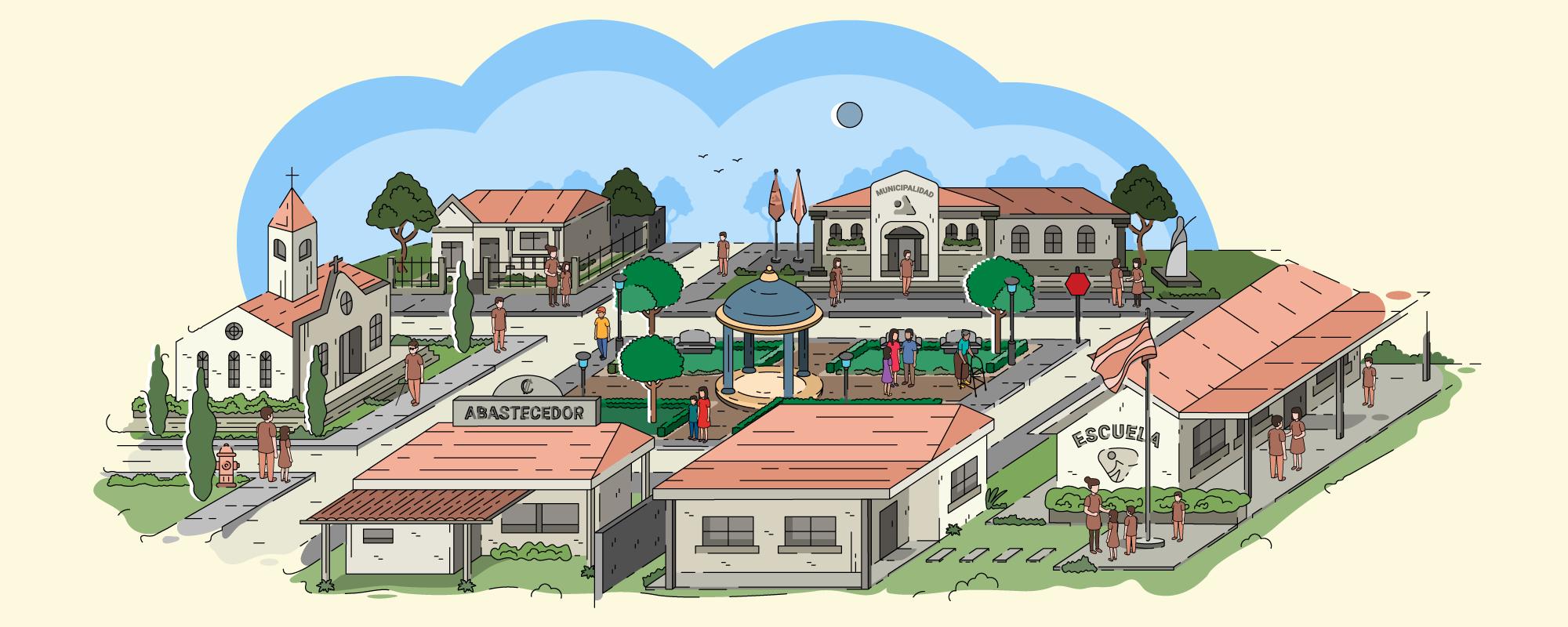 Dibujo a color que ilustra la vista aérea común de un pueblo en Costa Rica. Se muestra el edificio de la municipalidad, un parque, una escuela, una pulpería y una iglesia. Se ven algunas personas en varios lugares del pueblo.