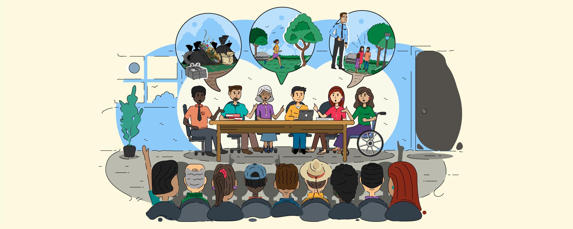 Caricatura de 6 personas sentadas alrededor de una mesa, y otras personas observando y participando.