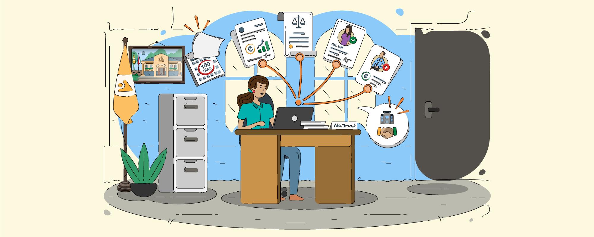 Dibujo de una mujer sentada en un escritorio y trabajando en una computadora.
